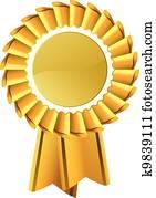 Gold award medal rosette