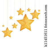 Golden stars Christmas tree ornaments