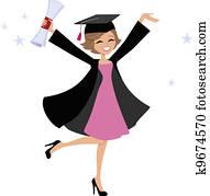 Graduate Woman Cartoon