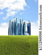 Green futuristic city