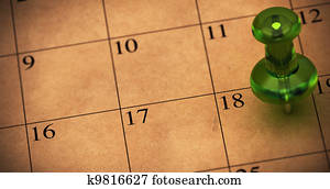 Green thumbtack onto a schedule made with recycled brown paper. Pushpin pointed on number 18. Appointment on a calendar, room for text on the left side of the memo