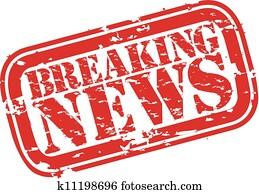 Grunge breaking news rubber stamp, v