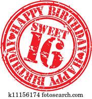 Grunge happy birthday sweet 16 rubb