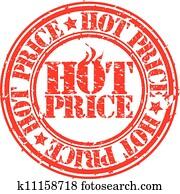 Grunge hot deal price stamp, vector