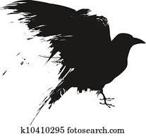 Grunge raven vector silhouette