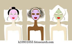 hübsch, frauen, mit, kosmetisch, maske, auf, gesichter, in, heilbad, salon