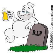 Halloween Ghost Drinking Beer