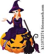 halloween hexe, auf, kürbis