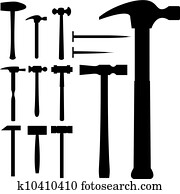 Hammers vector silhouette