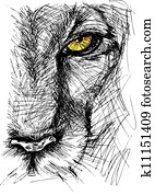 Hand drawn Sketch of a lion