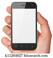 Hand holding smartphone on white background. Generic mobile smart phone, 3d render.