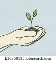 Hands with green sprout and dirt heap. Hand-drawn vector illustration, EPS10.