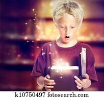 Happy Boy Opening a Gift Box