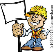 Happy Construction Contractor with Sign Cartoon Vector Image
