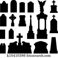 Headstone and gravestone silhouette