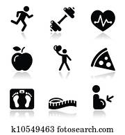 Health and fitness black clean icon