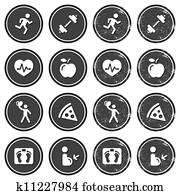 Health and fitness icons retro labe