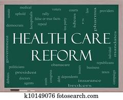 Health Care Reform Word Cloud Concept on a Blackboard