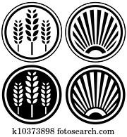 Healthy food and grain symbols