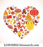 Heart shape with China icons