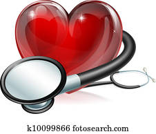 Heart symbol and stethoscope