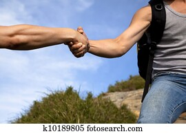 help of partner. helping hand
