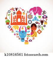 herz, mit, indischer, vektor, heiligenbilder