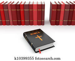 Holy Bible on background from others books.