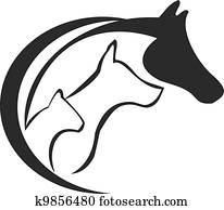 horse,, katz, und, hund