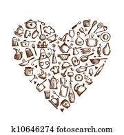 ich, liebe, cooking!, küchenutensilien, sketch,, herz gestalt, für, dein, design