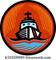 Illustration of a coast guard boat in an orange circle