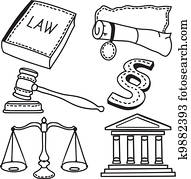 Illustration of judicial icons