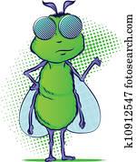 insekt, karikatur, zeichen