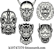 Clipart Of Japanese Noh Theatrical Masks K10747444 Search Clip Art
