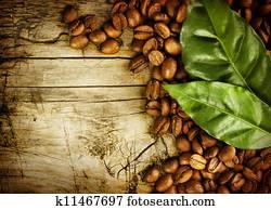 kaffeebohnen, hinüber, holz, hintergrund