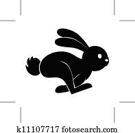 kanninchen, springen, symbol