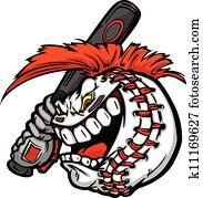 karikatur, baseball ball, gesicht, mit, mohawk, haar, haltend baseball, fledermaus, abbildung, vektor