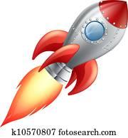 karikatur, rakete, raum- schiff