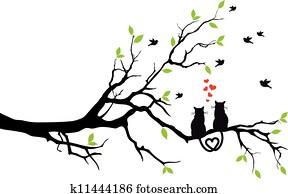 katzen, verliebtes, auf, tree,, vektor