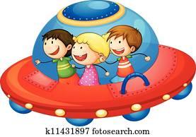 kids in spaceship