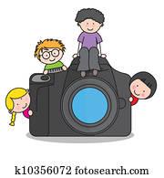 kindern, mit, a, fotoapperat