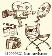 kino, und, photographie, altmodisch, satz
