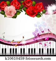 klavierschlüssel, mit, rosen