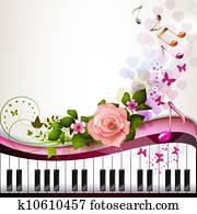 klavierschlüssel, mit, rosenblüte