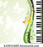 klavierschlüssel, mit, schmetterlinge