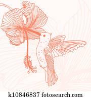 kolibri, mit, blume