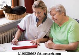 krankenschwester, besuchen, a, patient, hause