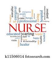 krankenschwester, wort, wolke, begriff