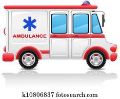 krankenwagen, auto, vektor, abbildung