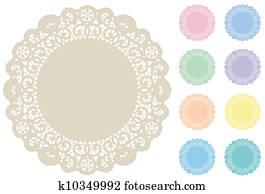 Lace Doily Place Mats, Pastels